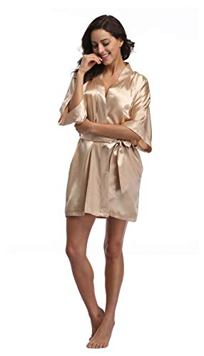(Luvrobes Women's Satin Kimono Robe, Solid Color, Short(Champagne Gold,)