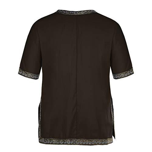 Courte T Blouse shirt Hommes Café Casual Tops Impression Manche Loose African Été Amlaiworld YSqwUS