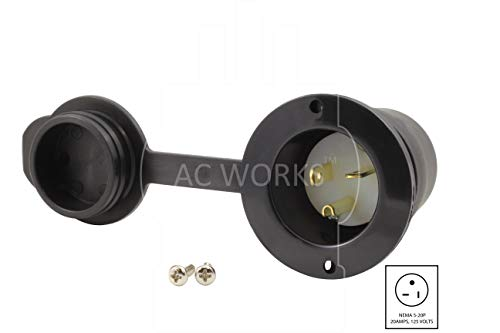 AC WORKS [ASIN520P-WC 20-Amp 125-Volt NEMA 5-20P Flanged Power Input Inlet with Weather Cover by AC WORKS (Image #1)