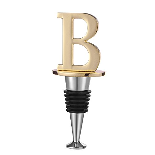 Wine and Beverage Bottle Stopper With Gold Finish (Letter B) (Stopper Wine Initial)
