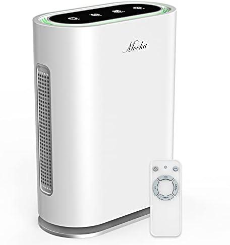 MOOKA TRUE HEPA+ Air Purifier, Auto Mode, Built-in AQ Sensor, Activated Carbon & UV Enhanced 6-Point Air Filter, Large Room 580 Sq Ft, Remove 99.97% Allergies Smoke Odor Dust Pollen Pet Dander, 2021