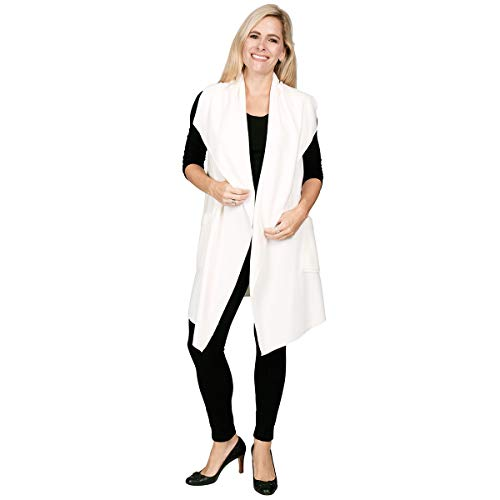 (Le Moda Women's Pocketed Open Front Fleece Vest Cardigan (ONE Size, Winter)