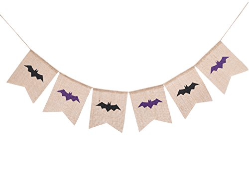 Bat Halloween Burlap Banner Garland for Home, School, Office, Party Decorations Wall Décor Hanging Photo Props Bunting Sign]()