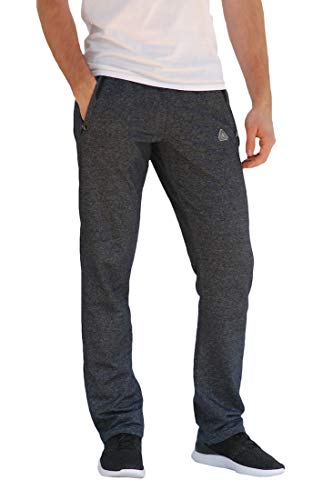 SCR Men's Workout Activewear Pants Athletic Sweatpants Long Inseam Black Grey Blue Navy 30L 32L 34L 36L 38L (Large x 38L (Straight), Heather Grey)