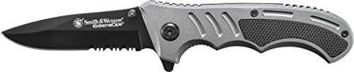 SMITH & WESSON ExtremeOps CK204CP 7.7in High Carbon S.S. Folding Knife with a 3.1in Tanto Blade and Aluminum Handle for Outdoor, Tactical, Survival and EDC