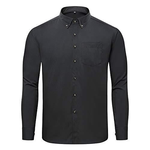 (Jeopace Mens Big and Tall Shirts Long Sleeve Button Down Black Dress Shirts (3XL/215, Black))