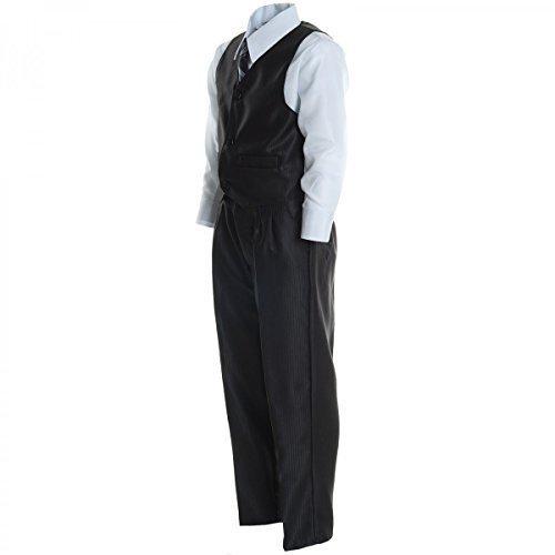 Kinder Jungen Kommunion Hosen Fest Anzug Smoking Hochzeit Taufe Anzug 5Tlg 20495, Farbe:Schwarz;Größe:128