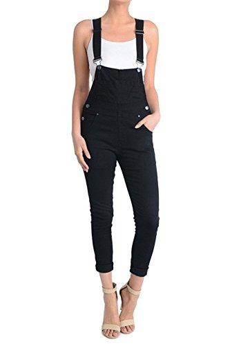 American Bazi Women's Solid Skinny Overalls RJHO378 - BLACK - Small - - Skinny Overalls