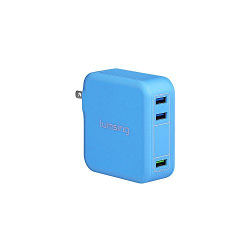 Lumsing 35W QC 3.0 Three ports USB Wall Charger, QC 3.0 port for Galaxy S7 / S6 / Edge / Plus, Note 5 / 4 and Smart ports for iPhone 7 / 6s / Plus, iPad Pro / Air 2 / mini, LG, Nexus, HTC (Blue)