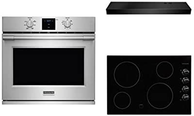 "Frigidaire 3-Piece Kitchen Package With FFEC3024LB 31"" Electric Cooktop, FPEW3077RF 30"" Electric Single Wall Oven and FHWC3025MB 30"" Under Cabinet Convertible Hood in STainless Steel"