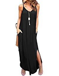 06e1f0ae1d5 Women s Summer Casual Loose Dress Beach Cover Up Long Cami Maxi Dresses  with Pocket