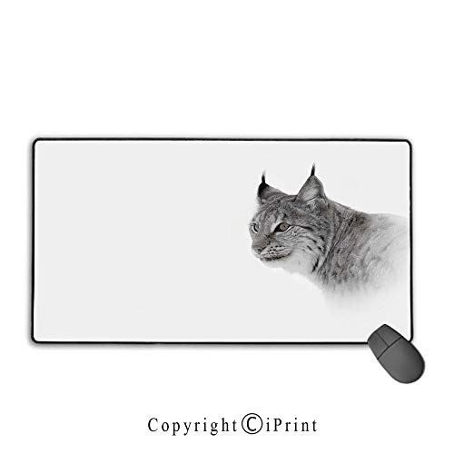 Mouse pad with Lock,Hunting Decor,Lynx in Central Norway Wild Cat North Cold Snowy Mountain Carnivore Predator,Grey White,Suitable for laptops, Computers, PCs, Keyboards,15.8