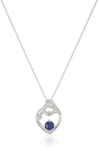 10k White Gold Created Sapphire and Diamond Accent Mother and Baby Heart Pendant Necklace, 18