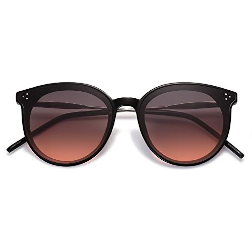SOJOS Designer Round Sunglasses for Women Oversized Frame with Rivets DOLPHIN SJ2068 with Black Frame/Gradient Grey&Red Lens