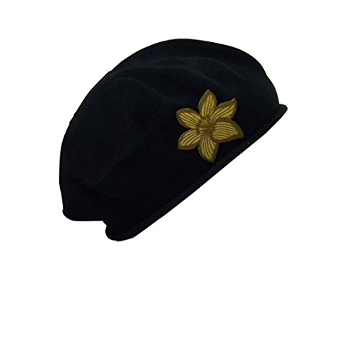 Black Beret with Pointy Gold Flower Women 100% Cotton Solid Hat Headcover for Hair Loss Fashion Modesty