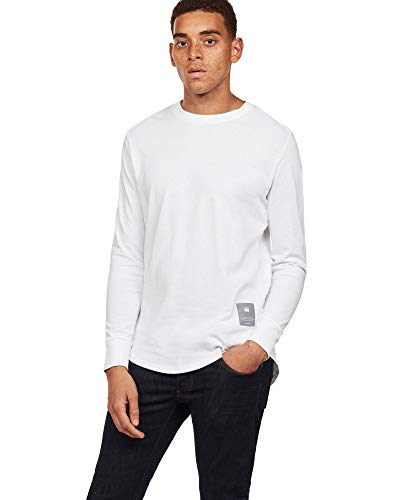 G Raw T shirt Relaxed Swando Blanc star Longues Manches RRPTrqUxn