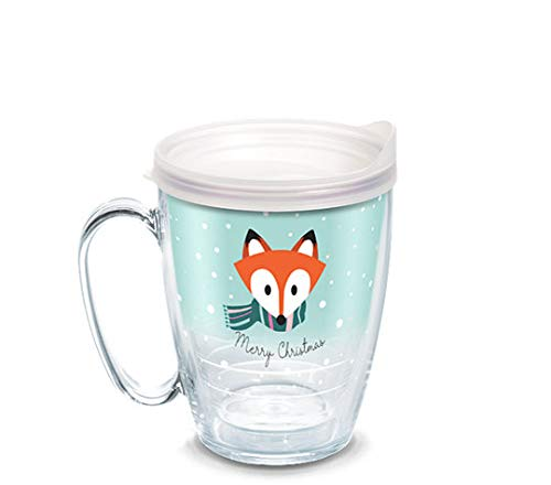 Tervis 1334971 Christmas Fox Insulated Tumbler with Wrap and Frosted Lid, 16 oz - Tritan, Clear