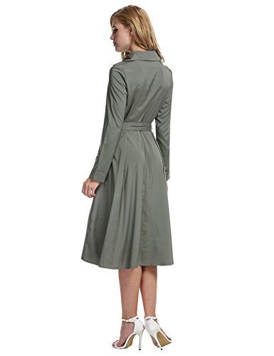 Women's Line Retro A Long 1950s Dress Swing Rockabilly Beyove Vintage Gray Belted Sleeve gdqc1