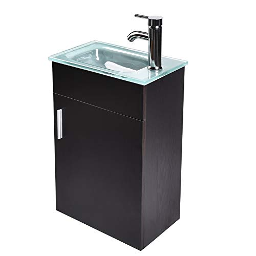 Frosted Glass Countertop - 16 Inches Bathroom Vanity, Modern Lavatory Wall-Mounted Vanity Set in Black, Frosted Tempered Glass Vanity Top Counter Top Sink, with Single Faucet Hole