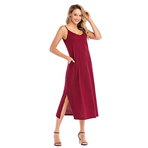 (Favogirla Loose Plain Maxi Dress Womens Sleeveless Lightweight Comfy V Neck Side Split Casual Long Dresses for Juniors Vintage Spaghetti Straps Beach Dresses with Pockets,Red M)