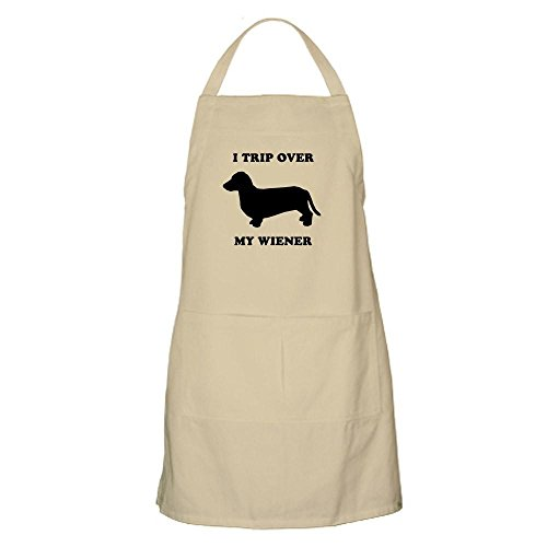 CafePress I Trip Over My Wiener BBQ Kitchen Apron with Pockets, Grilling Apron, Baking Apron