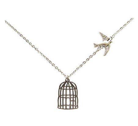 Flying Bird Cage Birdcage Chain Pendant Necklace