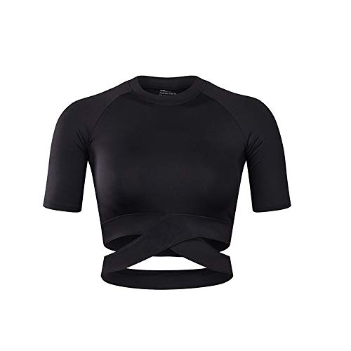 Specific Heart Women's Yoga Gym Crop Top Compression Workout Athletic Short Sleeve Shirt Black