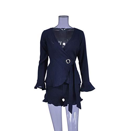 Scollo Militare Cime Eleganti Donna Stampa con Maniche Orlo Marina Shirt Irregolare Girocollo OHQ Manica Camicie MODA Maglietta V Camicette A Sciolto Camicia T Aderenti Blusa Lunga Pulsante Fasci qxRBw