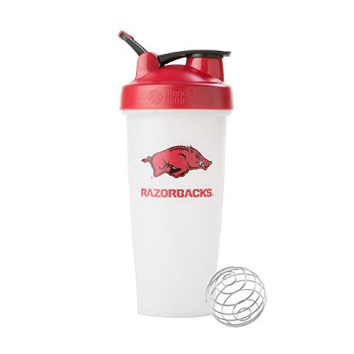 BlenderBottle Collegiate Classic 28-Ounce Shaker Bottle, University of Arkansas Razorbacks - White/Red