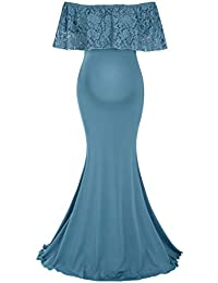 Maternity Long Dress Ruffles Lace Off Shoulder Stretchy Maxi Photography Dress