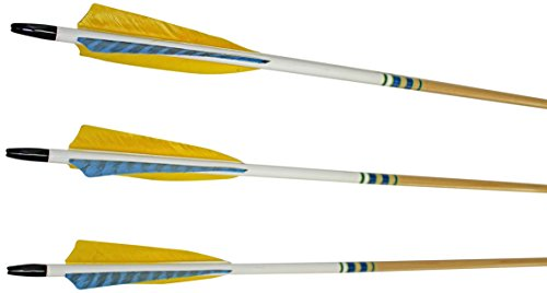Rose City Archery Port Orford Cedar Hunter Elite Arrows with 5-Inch Length Shield Cut Fletch (12-Pack), Clear Lacquer Shaft, 11/32-Inch Diameter/45-50-Pound Spine
