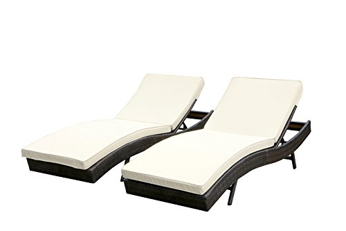 Walcut Set Of 2 Outdoor Patio Furniture PE Wicker Adjustable Pool Chaise Lounge Chair With Cushion (Ground To The Low Furniture Patio)