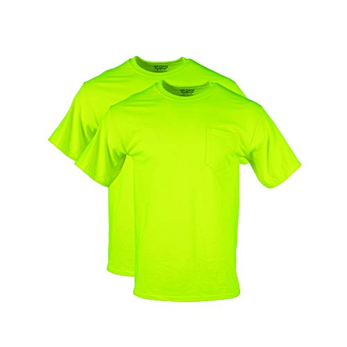 Gildan Men's DryBlend Workwear T-Shirts with Pocket, 2-Pack, Safety Green, Large ()