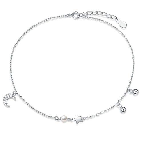 Fancime Sterling Silver Moon & Star Anklets Cubic Zirconia Stunning Adjustable Link Anklets for Women Girls ()