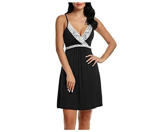 Glaciers Silk New Women's Silk Silk Sleepwear Nightdress Underwear Night Dress Sexy Spaghetti Straps Nightshirts ()