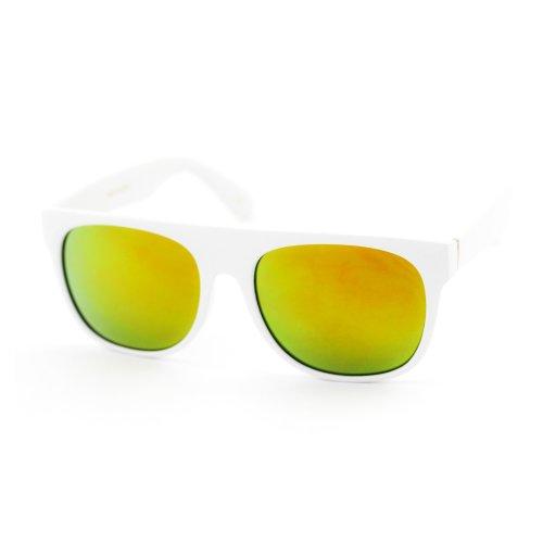 ASO Unisex Wayfarer Sunglasses White Frame Multicolored Lens -22 MM width - Asos Sunglasses Men