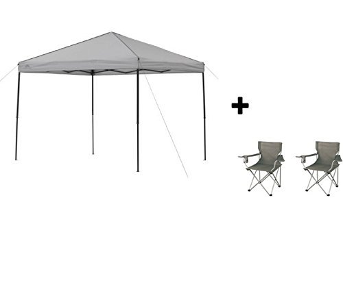 Ozark Trail* Instant Canopy (8′ x 10′, Cool Gray with Camping Armchairs) For Sale