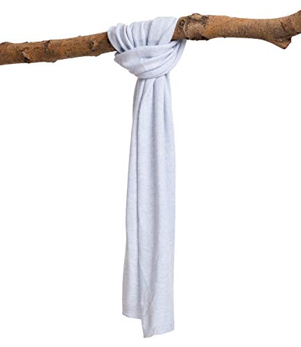 WoolOvers Cashmere and Merino Luxurious Soft Touch Scarf Pale Blue Marl, 1size