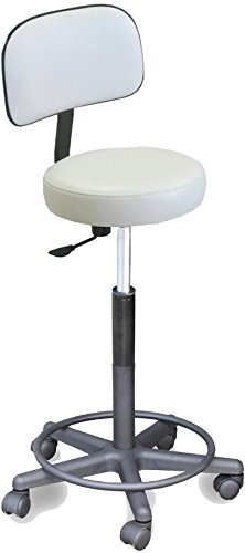910 E Medical Physician White Stool w/Adjustable heigth & Back Support Made in USA by Dina Meri (Adjustable Stool Physician)
