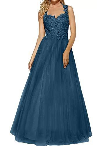 La Gold Blau A Braut Marie Dunkel Abiballkleider Rock Elegant Schulterfrei Bodenlang Promkleider Linie Lang Spitze Abendkleider tgwg1q