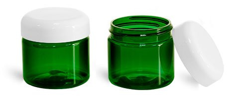 (2 oz. Green Plastic Straight Sided Jars with Lined White Dome Caps (48 Jars))