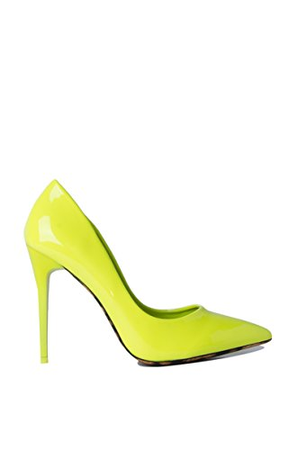 Azalea Wang Pointed Toe Basic Everyday Patent Leather Cheetah Accent High Heel Work Party Pumps -NEON Yellow_7