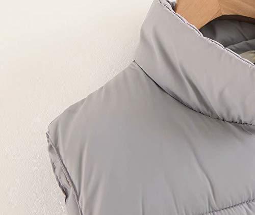 pantaloni Da Giacca Jacket Esterno Casual Grigio Pocket Alla Coat Collo Donna Moda Vest Con dIAAqgwr