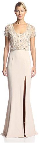 Terani Special Occasion Dress - Terani Couture Women's Bolero Over Gown, Champagne, 8 US