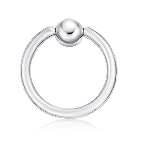 Lavari - 14K White Gold Captive Bead Hoop Lip Eyebrow Cartilage Tragus Nose Ring 16G