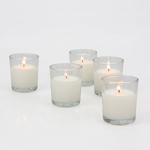 Stonebriar 48 Pack Unscented Long Burning Clear Glass Wax Filled Votive Candles, CandlDecor for Parties, Weddings, Spas, Restaurants, or Everyday Home, White