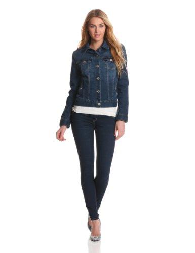 Liverpool Women's Classic Button Front Denim Stretch Jacket XL Dark Americana