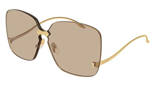 (Gucci GG0352S Sunglasses 002 Gold / Brown Lens 99 mm)