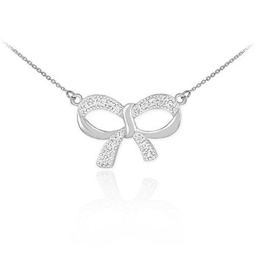 Diamond Bow Necklace (14k White Gold Diamond Charm Bow Necklace, 22