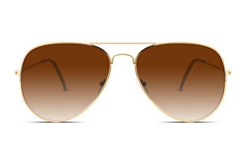 FEISEDY Retro Aviator Sunglasses Gradient Lens Men Women Brand Sunglasses B1100 13 Brown With Black Feet